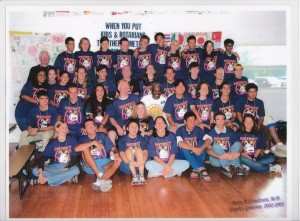 District Governor Perry Henderson (center) pictured with Rotary Youth Exchange Students during 2002-03 Rotary year.
