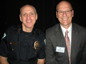 Police Chief Mike Koval (left) with Club President Tim Stadelman