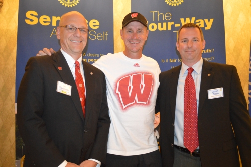 From left: Club President Tim Stadelman, Coach Gary Andersen and Jason Beren