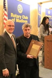 Club President Tim Stadelman (left) presenting award to Jonathan Gramling