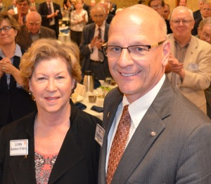 Linda Baldwin pictured here with Club President Tim Stadelman
