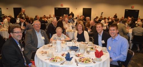 Special guests from left: Fellow Rotarian and high school classmate Dan Olson, Rick Stadelman (Tim's brother), Arlene Stadelman (Tim's mom), Lori Stadelman (Tim's wife), Ross Stadelman and Justin Stadelman (Tim's sons).