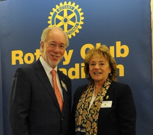 Club President Ellsworth Brown pictured here with District Governor Mary Van Hout