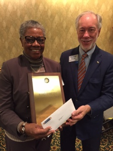Christine Hodge pictured here with Club President Ellsworth Brown